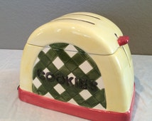 Vintage Collectible Sakura Ceramic Hand Painted Toaster  Cookie Jar by Debbie Mumm