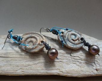 Circle of Life earrings - Rustic, Artisan, Handmade, OOAK, Organic