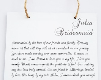 Personalised Bridesmaid Maid of Honour Chief Bridesmaid Hanging Plaque
