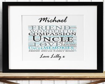 Personalised Uncle Framed Word Art