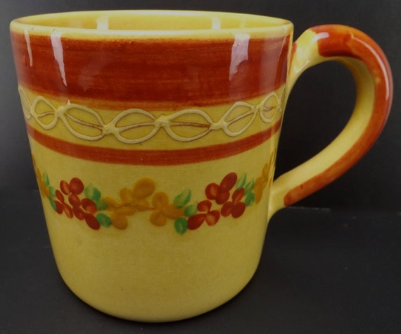 Vintage french coffee mug tea cup large heavy handmade by for Heavy ceramic coffee mugs