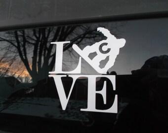 Colorado Love Snowboarder White Vinyl Decal