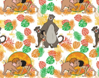 Disney Fabric Jungle Book Fabric Friends in White Fabric From Camelot 100% Cotton