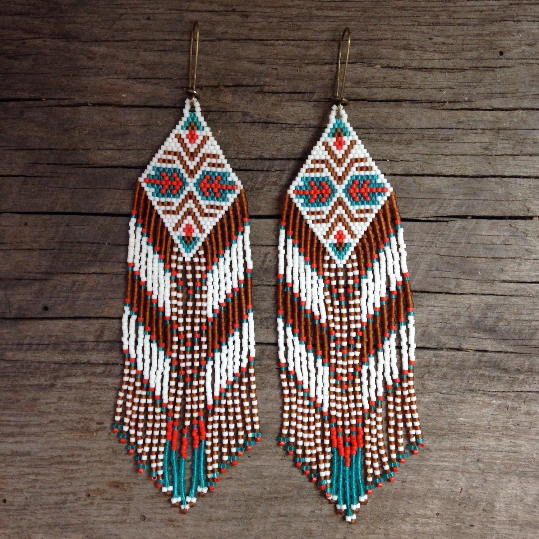Nara Beads: Narasinhi...RESERVED For GENE...Fractal Seed Bead Earrings