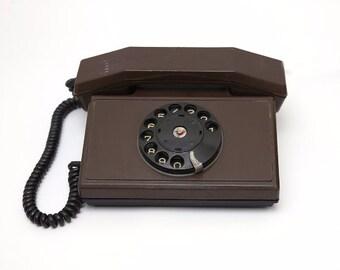 Vintage rotary brown telephone  1970s, retro telephone, rotary phone