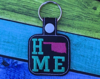 Oklahoma HOME - OKIE - State- The Hoop - Snap/Rivet Key Fob - DIGITAL Embroidery Design