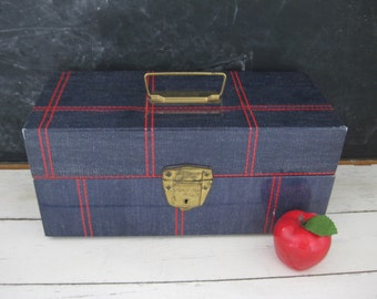 Vintage Ballonoff Metal Porta File Storage Box Retro Denim Look