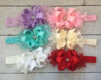 Small Ruffle Bow headbands