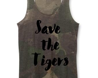 Woman Tank - Save the Tigers Tank Top - came tank for Women - Tiger Tanks, Women's Heather tiger shirts - XS, Small, Medium, Large, XL, 2X