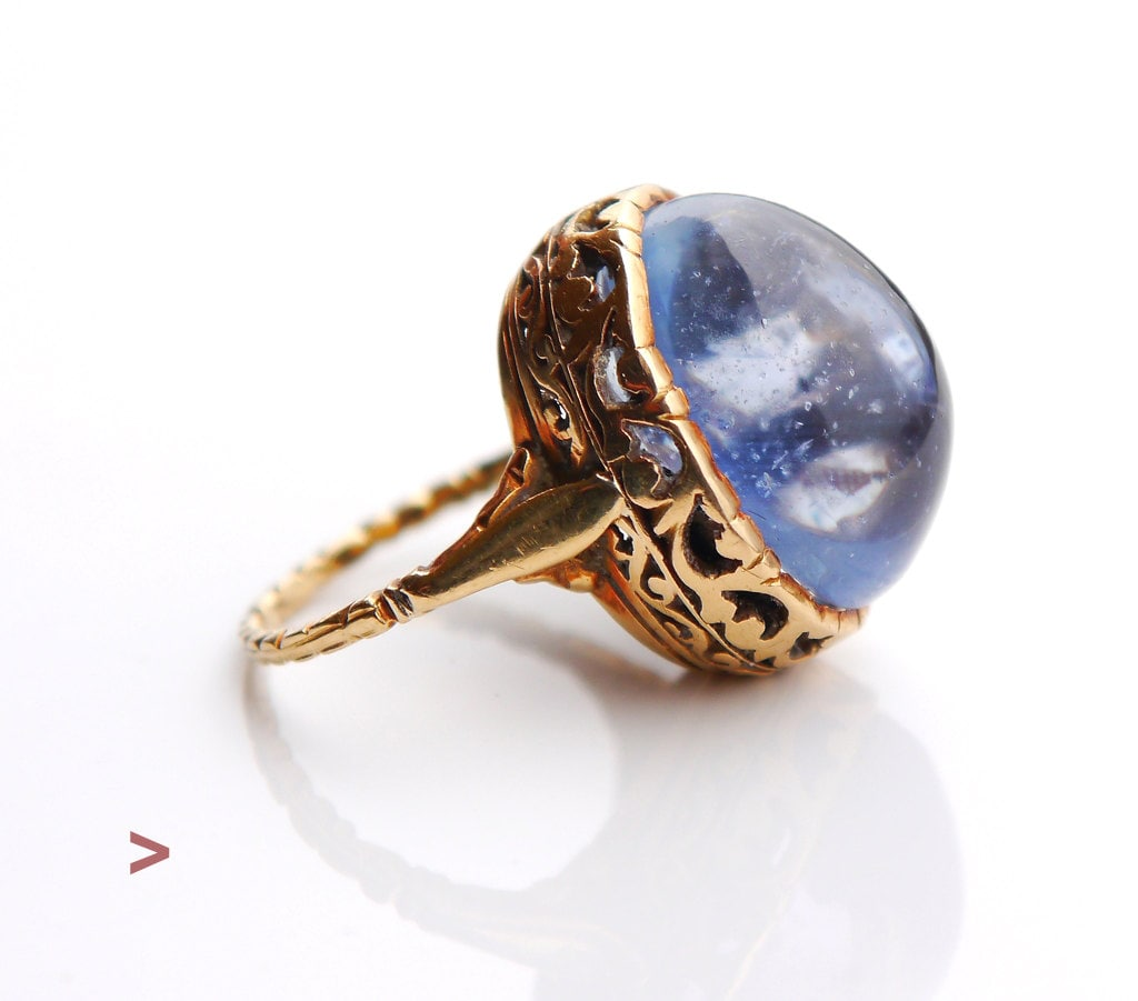 antique ring solid 18k gold 23ct blue sapphire size