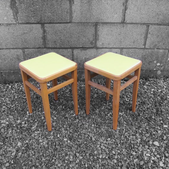 Kitchen Stools Uk Only: 1960s Yellow Stools Kitchen Dining Room Vinyl Seat Pad