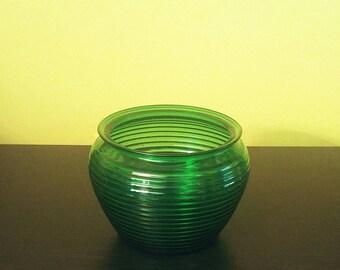 Vintage Ribbed Green Beehive Glass Bowl Vase Planter