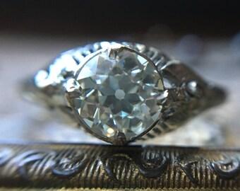 Art Deco solitaire ring, Old European Cut Moissanite, 18k White Gold, size 5.5
