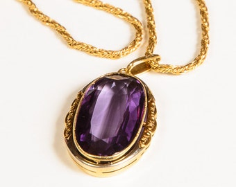 Vintage Amethyst Pendant Necklace, Oval Pendant, Gold Purple Amethyst necklace,  14K/585 Gold Chain; Vintage European; Italian Gold Chain