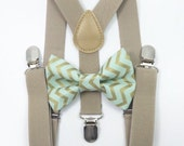 FREE DOMESTIC SHIPPING! Tan suspenders Suspenders + Mint green and gold metallic chevron bow tie pictures birthday