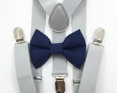 FREE DOMESTIC SHIPPING! Light gray suspenders and navy bow tie set baby boys boy teens adult family photoshoot wedding formal ring