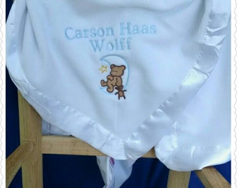 Satin Trim Baby Blanket/Personalized Baby Blanket for Boys with Satin Trim that is Cuddly & Soft!/Personalized Security Blanket/Baby Shower