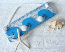 Blue Wooden Towel Hanger Bathroom, Shabby Cottage Chic wall Decor, Blue Wood Hanger, Wooden Toilet Hooks, Handmade Blue Towel Hook