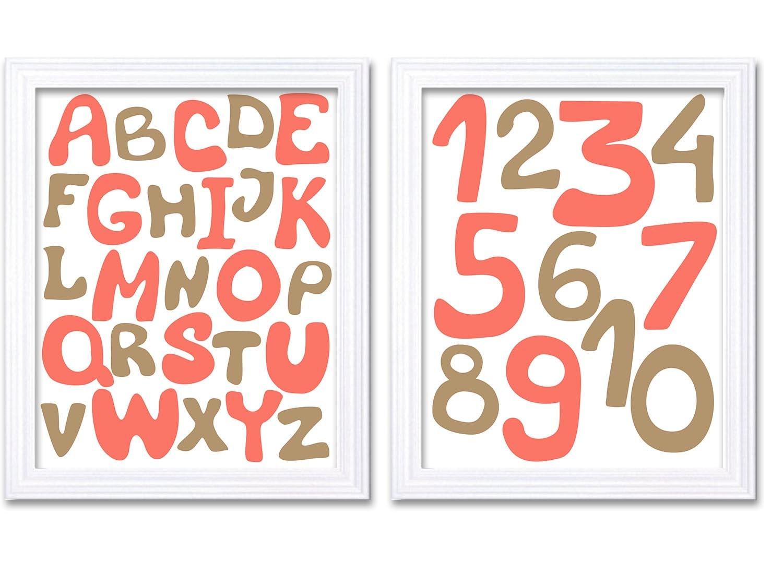 Pink Coral Gold Beige Alphabet Kids Room Nursery Art ABC Letters Numbers Nursery Print Set of 2 Chil