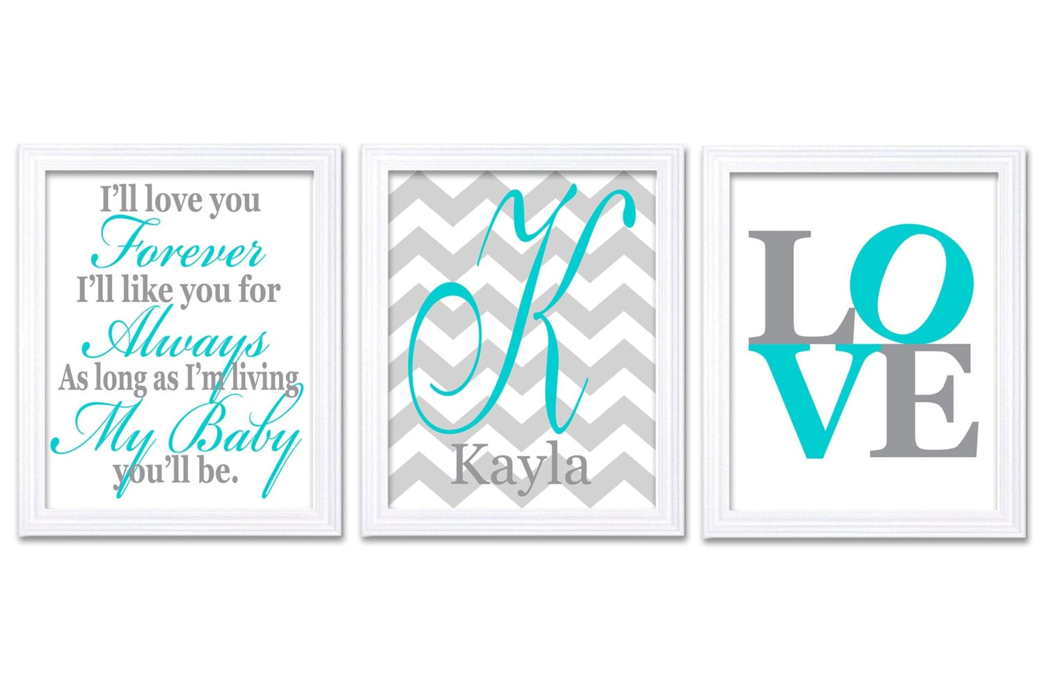 Letter Personalized Name Love Nursery Art Set of 3 Prints Blue Turquoise Grey Ill Love You Forever K