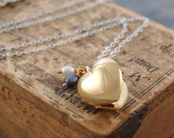 Heart Locket, Gold Locket, Locket Necklace, Heart Pendant, Gold Pendant, Sterling Silver, Pearl Necklace, Pearl Locket, Gold Heart, Locket