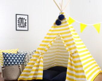 Yellow Striped Teepee, Play Tent, Playhouse, Kids Teepee, Tee Pee, Childrens Teepee, Indoor Teepee, Bedroom Teepee, Boys Teepee, Girl Teepee