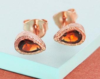 Rose Gold Studs, Garnet Earrings, Tear Drop Earrings, Small Studs, Rose Gold Jewelry, January Birthstone, Dainty Earrings, Deep Red Stone