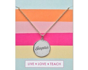 Teacher Gift, Silver, Nanny Gift, Daycare Gift, Teacher Appreciation, Teacher necklace, end of year teacher gift, teacher present