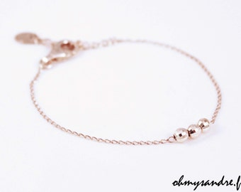 chain bracelet and solid silver faceted beads