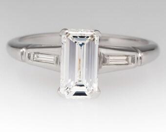 Diamond Engagement Ring - Emerald Cut Diamond Engagement Ring - Vintage Engagement Ring - 1 Carat Diamond Ring - WM11444