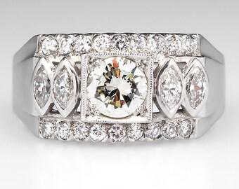 Vintage Mens Ring - 1960's Mens Diamond Wedding Band 1.44 CTW - Palladium Band Ring - HH518