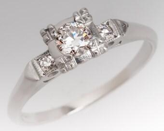 Vintage Early 1940s Transitional Cut Brilliant Diamond Platinum Engagement Wedding Ring WM11054