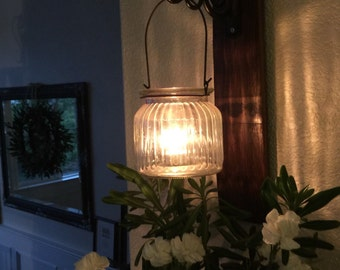 Pair of Oak wine barrel stave candle sconces with great ribbed glass vase  or candle holder