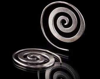 92.5 Silver Spiral Earrings, Tribal silver jewelry, Silver earrings, Ethnic jewellery, Spiral hoops, Tribalik ( code 58)