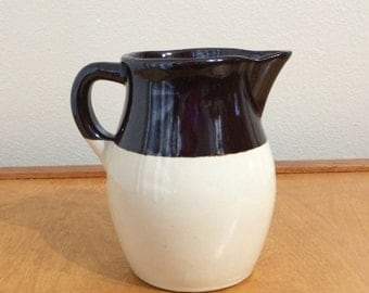 "6"" Breakfast Pitcher from Roseville Potttery Company in Ohio - Blue Sponge Design"