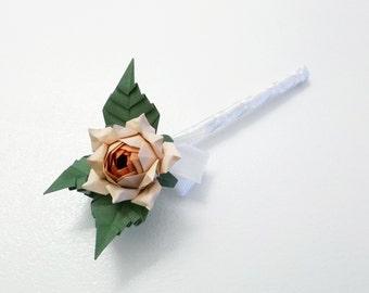 Origami Lapel Roses, groom or bestman, prom, orange