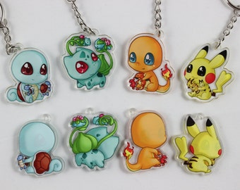 "Pokemon Starters 1.5"" Double-Sided Acrylic Charm Keychains"