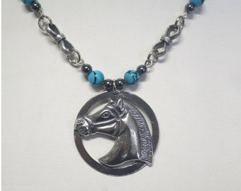 Pewter horse pendant with Turquoise and Hematite beads