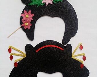 Geishas looking heads