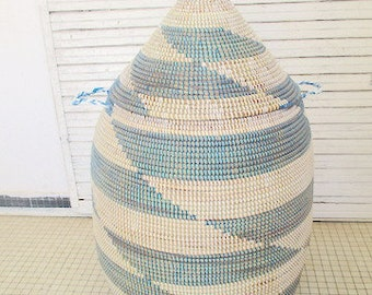Laundry Basket with church roof top lid, cerulean blue and white home decor, bathroom, bedroom,MADE TO ORDER