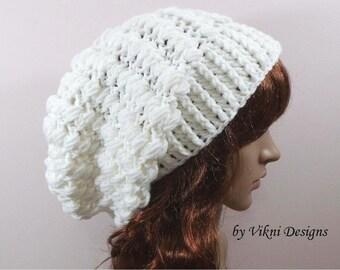 Crochet Womens Slouchy Hat, White Crochet Hat, Women Knit Beanie, Crochet Slouchy Beanie, White Winter Crochet Hat by Vikni Designs