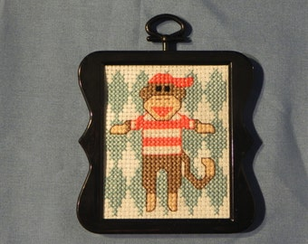 Sock monkey cross-stitch