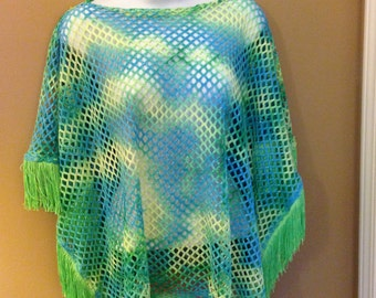 Blue and Lime Green Summer Poncho