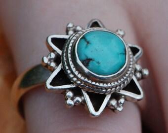 Turquoise Sunshine Ring Sterling Silver 1970's Vintage