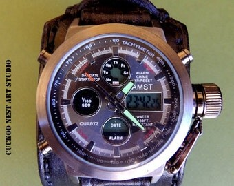 Black Leather Cuff, Wrist Watch, Men's Leather Cuff, Bracelet Watch, Black Watch Cuff