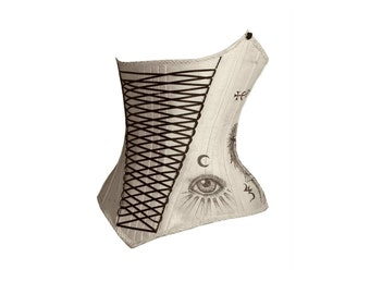 Ivory Alchemist Silk Underbust Custom Corset Steel Boned