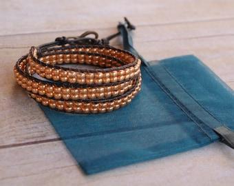 Gold leather wrap bracelet, beaded leather bracelet, bead bracelet, leather bracelet, womans gifts, jewelry gifts, woven bead bracelet