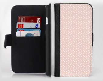 The Coral and White Micro Polka Dots Ink-Fuzed Leather Folding Wallet Case For the Apple iPhone and Samsung Galaxy Devices