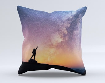 The Reach for the Stars ink-Fuzed Decorative Throw Pillow