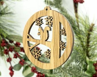 Squirrel Christmas Wood Ornament - Squirrel on Tree Decoration - White Oak Squirrel Ornament - Wildlife Ornament
